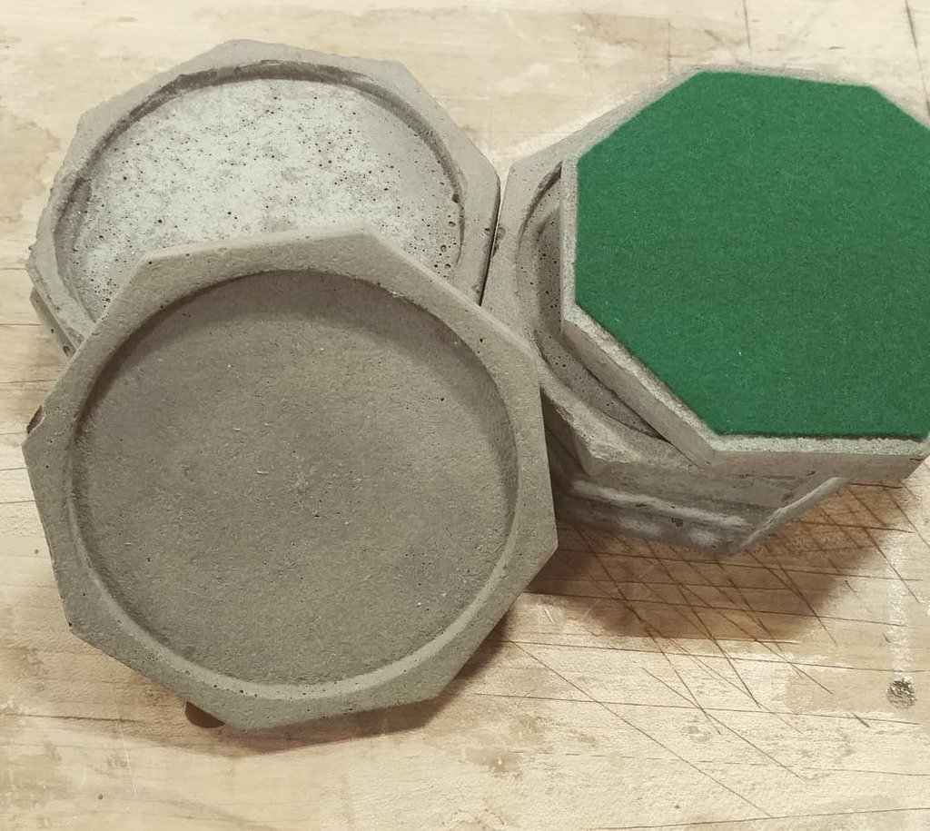 The finished product. Eight coasters with eight sides each. Now friends have a place to put their coffee. #coffeecoasters #coffeetableaccessories #eightfoldpath #octagon #concretecoasters #diy #builtnotbought #homegoods<br>http://pic.twitter.com/nlX9Kpuviv