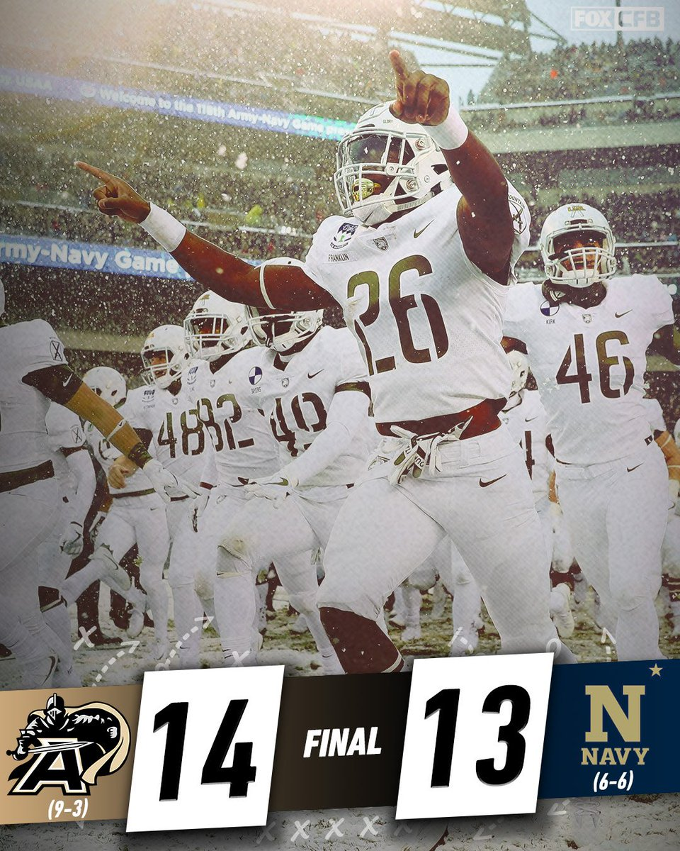 Make that 2 straight for Army