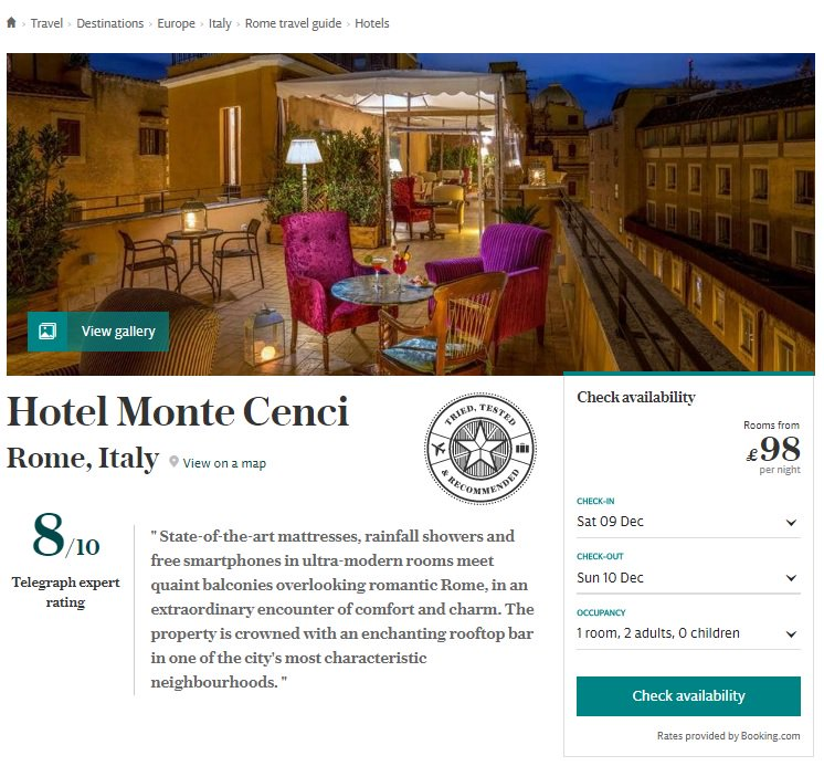 Boutique Hotel Monte Cenci Rome Among The Featured Hotels At Uk Telegraph