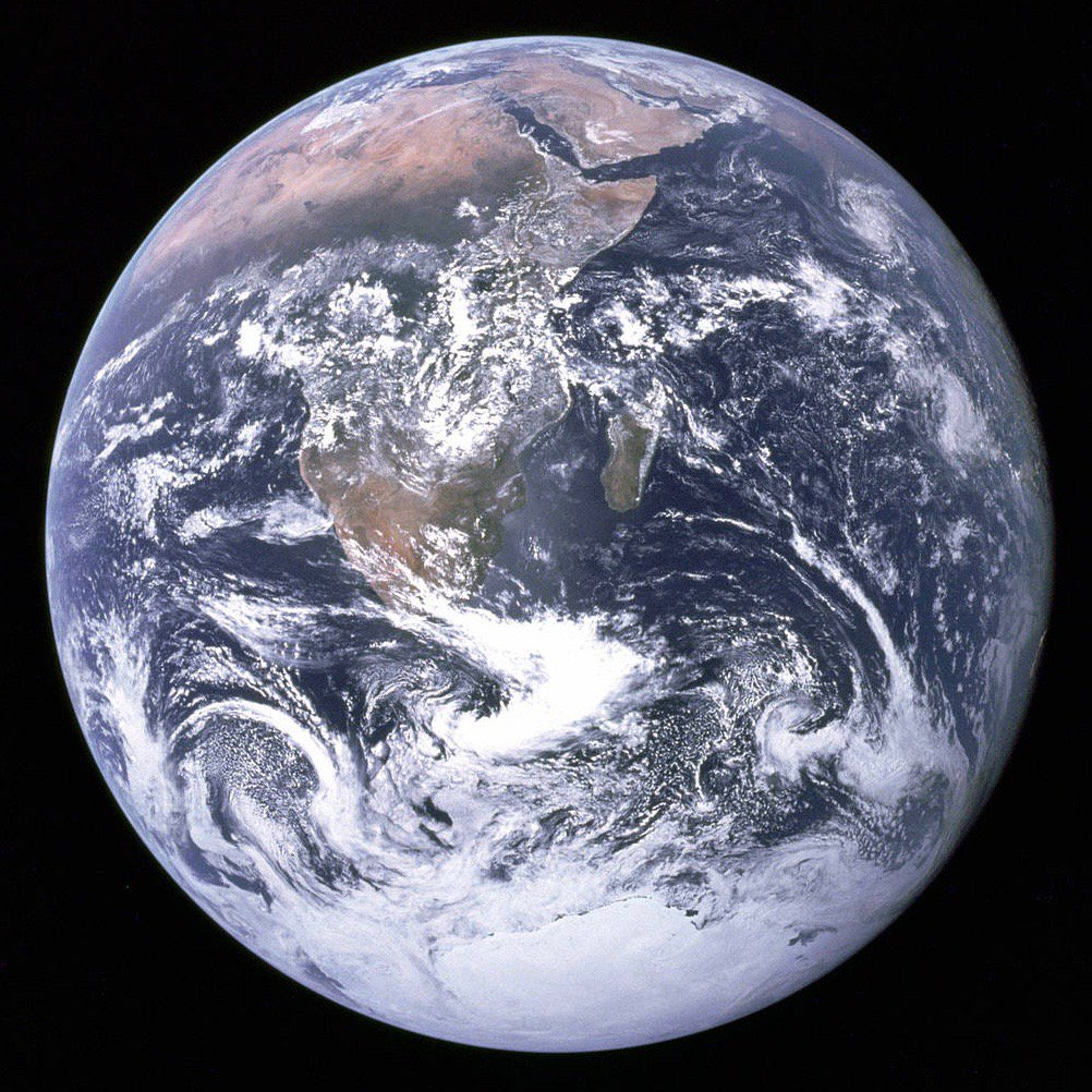 Earth, as photographed by crew of Apollo 17, last humans to walk on moon, 45 years ago this month: #NASA