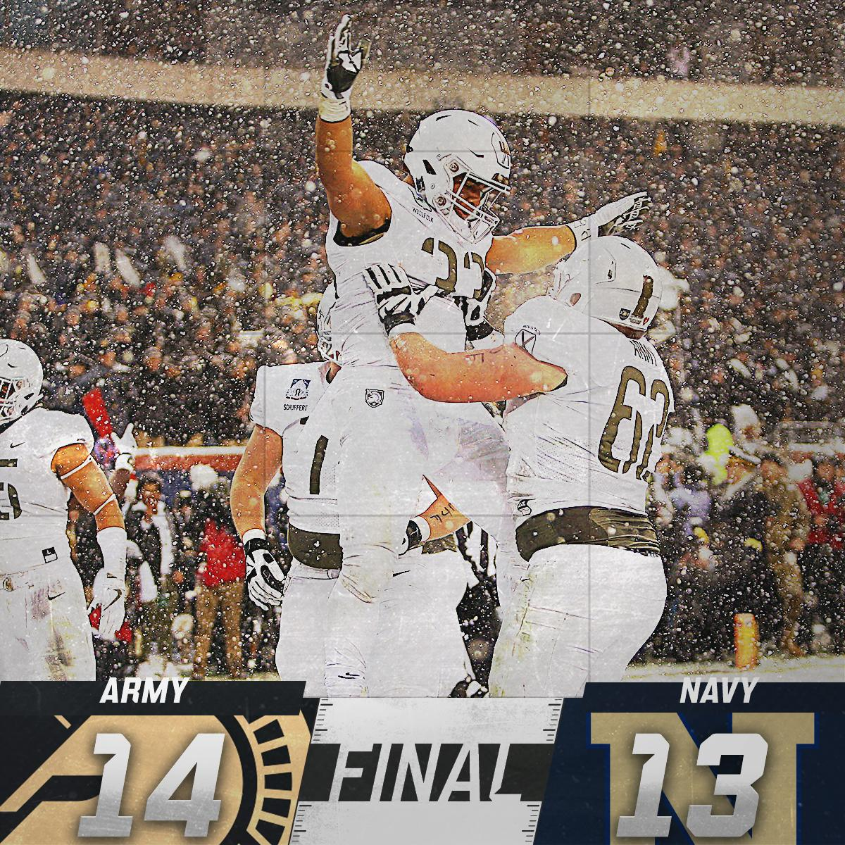 Army wins a thriller!  Navy misses a FG on the final play of the game as the Black Knights win the Commander-in-Chief's Trophy for the first time in 21 years.