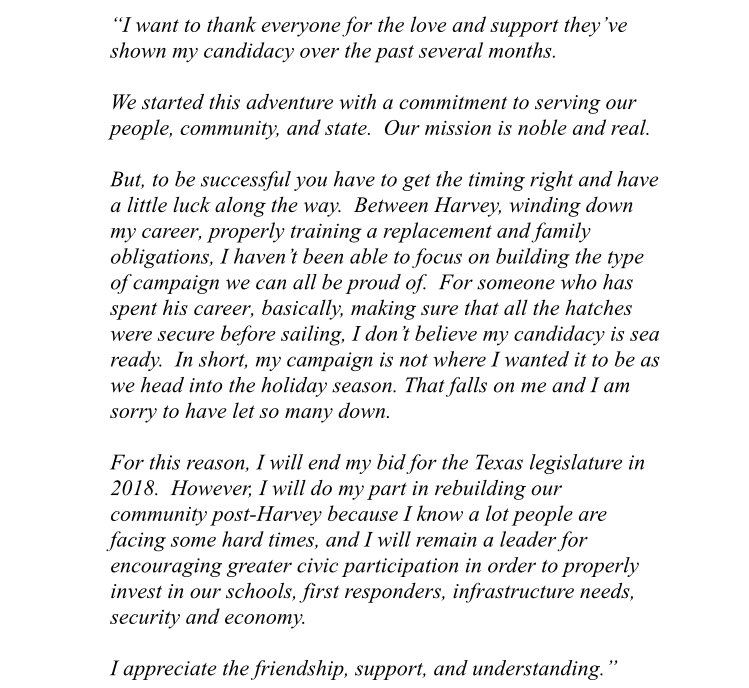 Just in: Terry Sain, @BriscoeCain's primary challenger, announces he's ending his campaign. #HD128 #txlege