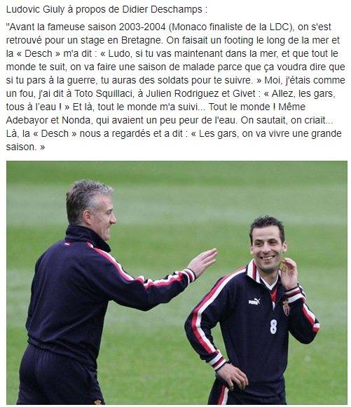 Cette anecdote de Giuly sur Deschamps qui avait prévu la superbe saison 2003-2004 de Monaco (via @PiedsCarres)