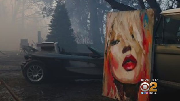 Cbs Los Angeles On Twitter Priceless Painting Survives Bel Air Mansion Burning To The Ground Cbs2 S Brittney Hopper Spoke To The World Renowned Artist About Why The Painting Means So Much To Him