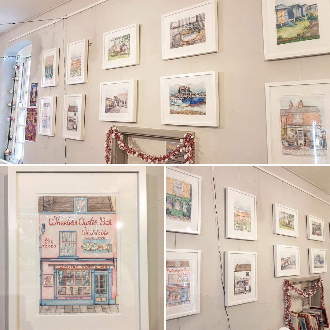 We have this gorgeous #whitstable based work up by #local #artist @mooredinwhit until the end of December.  Just £30/print - perfect pressies for #christmas <br>http://pic.twitter.com/udBpGs5oQY