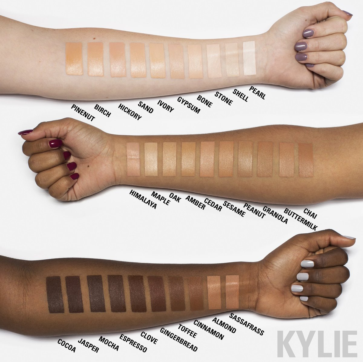 "KYLIE COSMETICS on Twitter: ""Skin Concealer swatches 12/13… """