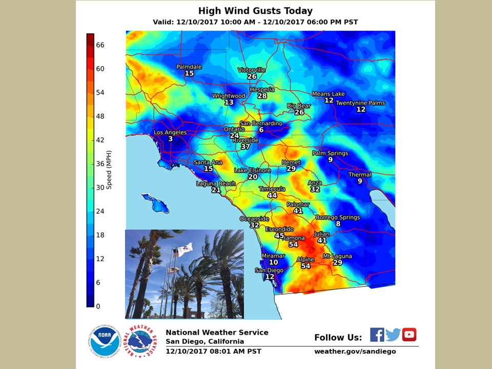 Todays high winds due to very dry #SantaAnaWinds increasing over #socal #cawx critical fire weather conditions