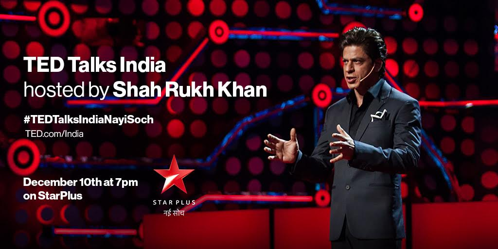 The wait is over! #TEDTalksIndiaNayiSoch with @iamsrk is starting now on @StarPlus. Are you watching?