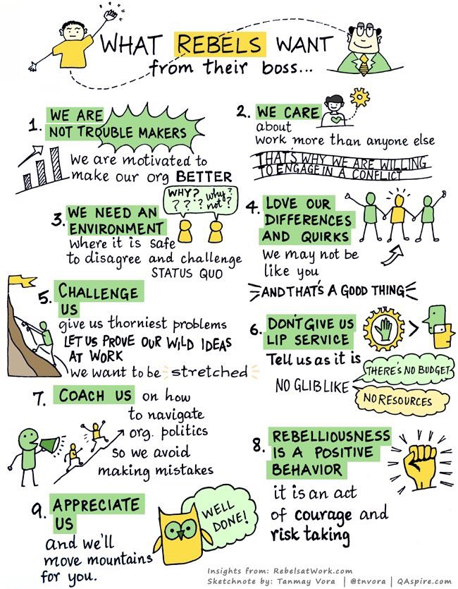 Rebels push the envelope, but with the right #leaders they can be a positive force #sketchnote via @tnvora @rebelsatwork #edchat #teaching #teachchat #cpchat #edadmin<br>http://pic.twitter.com/y6STMLB3yA