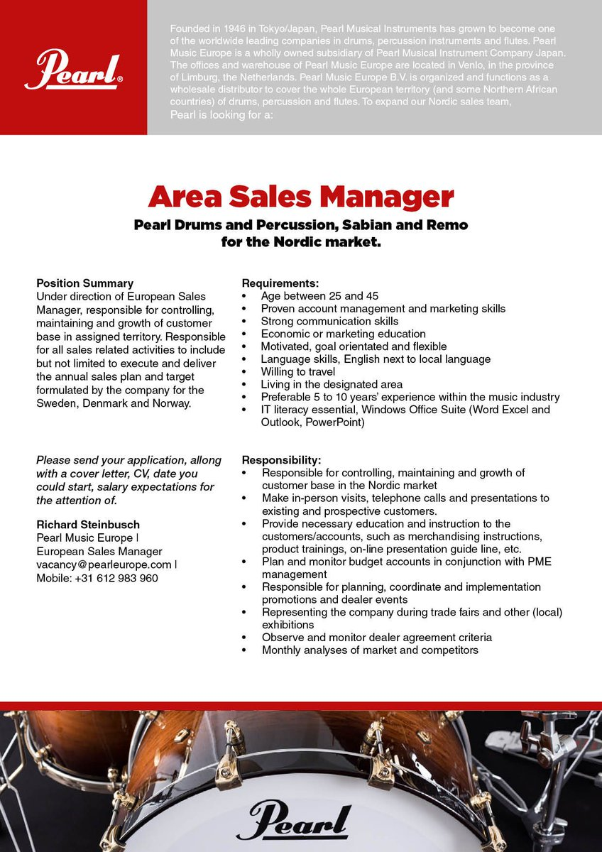 To expand our Nordic sales team, Pearl is looking for a Area Sales Manager  Pearl Drums and Percussion, Sabian and Remo for the Nordic market.