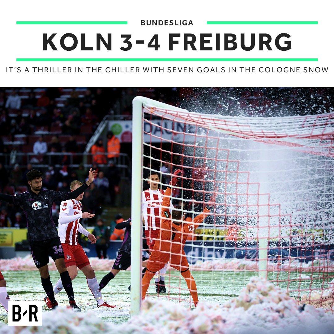 8' Koln 1-0 Freiburg 16' Koln 2-0 Freiburg 29' Koln 3-0 Freiburg 40' Koln 3-1 Freiburg 65' Koln 3-2 Freiburg 90' Koln 3-3 Freiburg 90' Koln 3-4 Freiburg  👀☃️