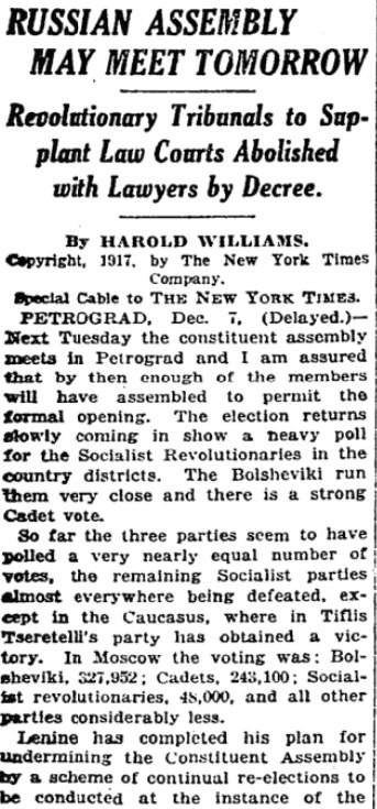 Dec 10, 1917 - New York Times: Russia's newly elected Constituent Assembly, which has a non-Bolshevik majority, may convene omorrow in Petrograd, but Lenin is working hard to prevent it #100yearsago
