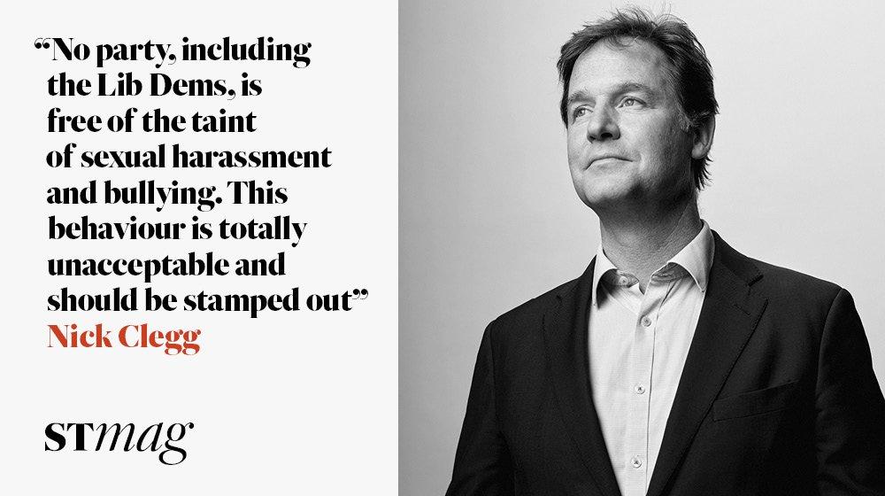 Nick Clegg: The former Liberal Democrat leader on Jeremy Corbyn, immigration and the Westminster sex-pest scandal https://t.co/i8NNHj7doJ