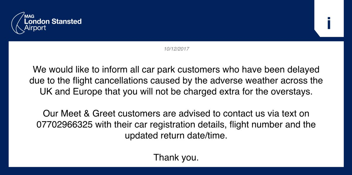 Stansted airport on twitter we would like to inform all car park stansted airport on twitter we would like to inform all car park customers who have been delayed due to the flight cancellations caused by the adverse m4hsunfo