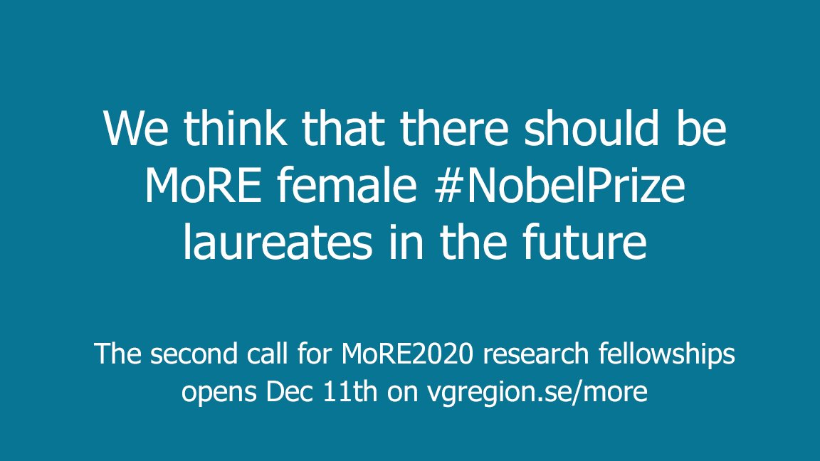 We think there should be more female #Nobelprize laureates in the future. RT to help us find them! @MoRE2020_VGR's second call for proposals opens Dec 11. More info at  http://www. vgregion.se/more  &nbsp;  . #Nobelprize2017 #H2020 #MSCA #researchermobility #womeninscience<br>http://pic.twitter.com/T7qsXEE5Bi