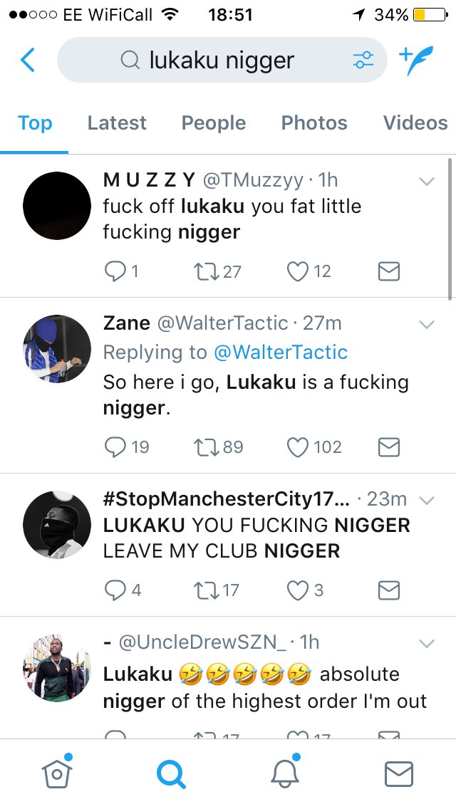 """Lukaku nigger"" is trending....   #MUFC fans what are you doing? ???? https://t.co/XSeMQmJmWc"