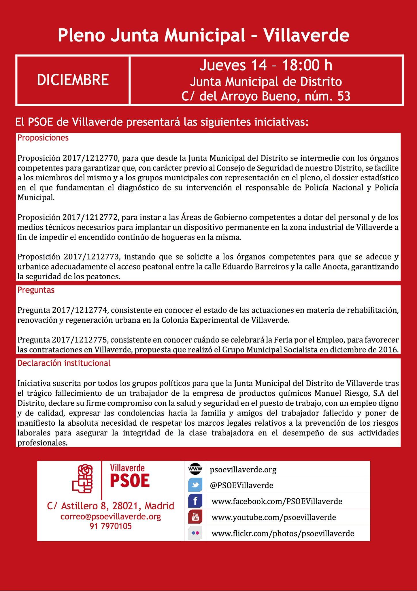 Pleno de distrito de Villaverde, diciembre 2017