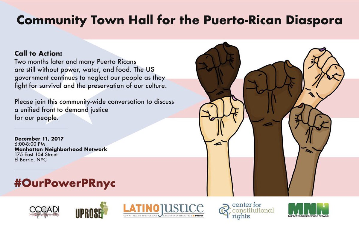 Call to Action #OurPowerPRnyc #JustRecovery #PuertoRicoOnTheMap #ClimateJustice #Decolonize Dec 11th. <br>http://pic.twitter.com/zWEEwO9pIQ