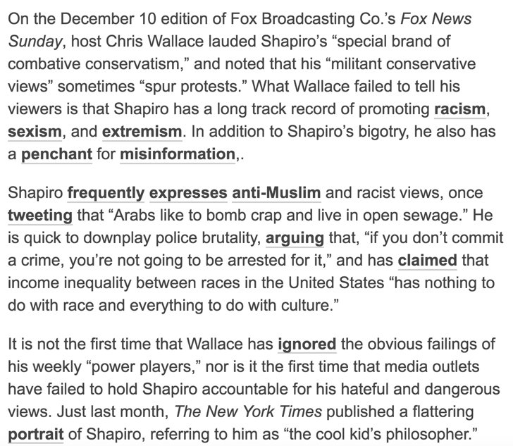 Chris Wallace follows the @nytimes in giving a glowing profile of Ben Shapiro, ignoring his history of bigotry and misinformation https://t.co/Tgw8BKo3Jz