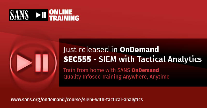 'One can conquer the SIEM world with this course' Robert Lee Smith | #SEC555 SIEM with Tactical Analytics is now available in #SANSOnDemand | Taught by Justin Henderson @SecurityMapper