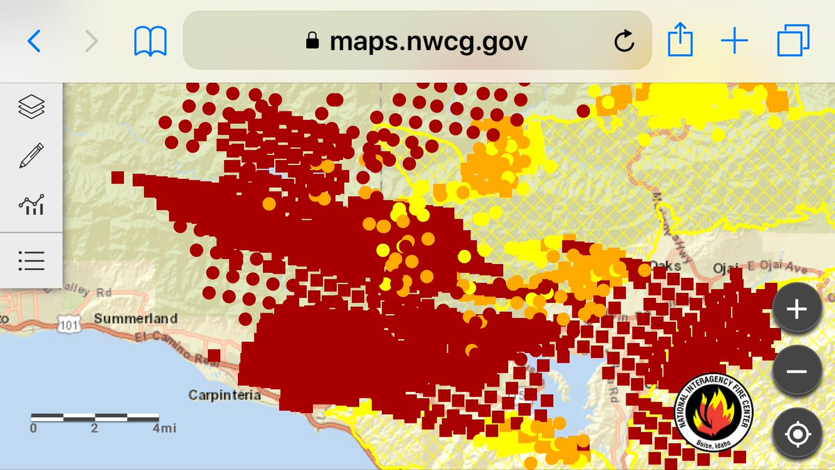 Santa Ana Fire Map.A R Kirwin On Twitter Active Fire Line Is In Carpinteria And