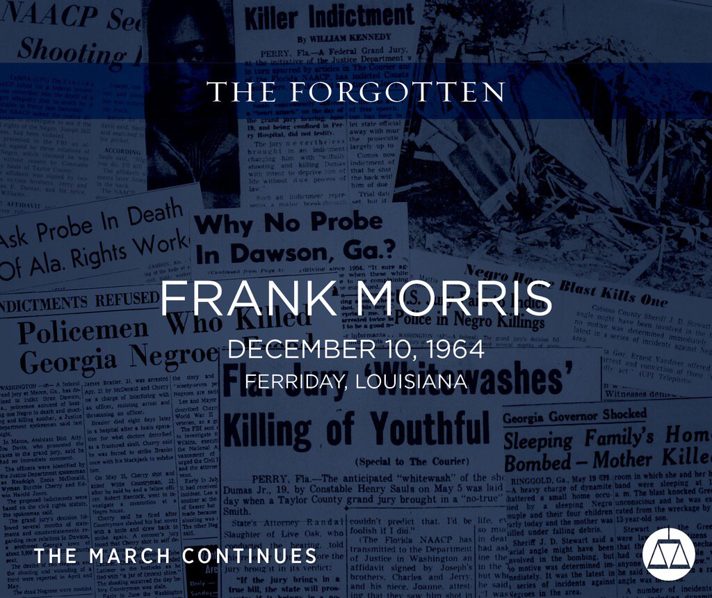 #OTD in 1964, Frank Morris, who owned a shoe store, was killed when a gas stove exploded during an arson. Morris, who lived in a room adjoining the store, was ordered to return to his room by the men who started the fire.