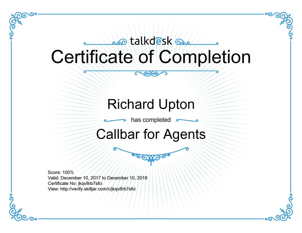 Rick upton on twitter completed talkdesk academys free online rick upton on twitter completed talkdesk academys free online training course callbar for agents neverstoplearning talkdesk 1betcityfo Gallery