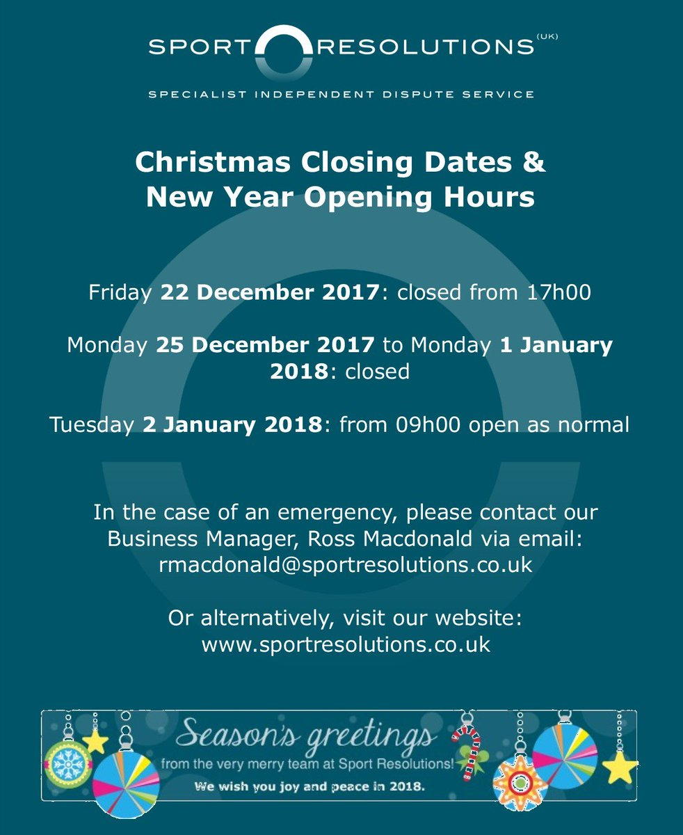 sport resolutions on twitter please take note of the sport resolutions office opening and closing hours below - Ross Christmas Hours