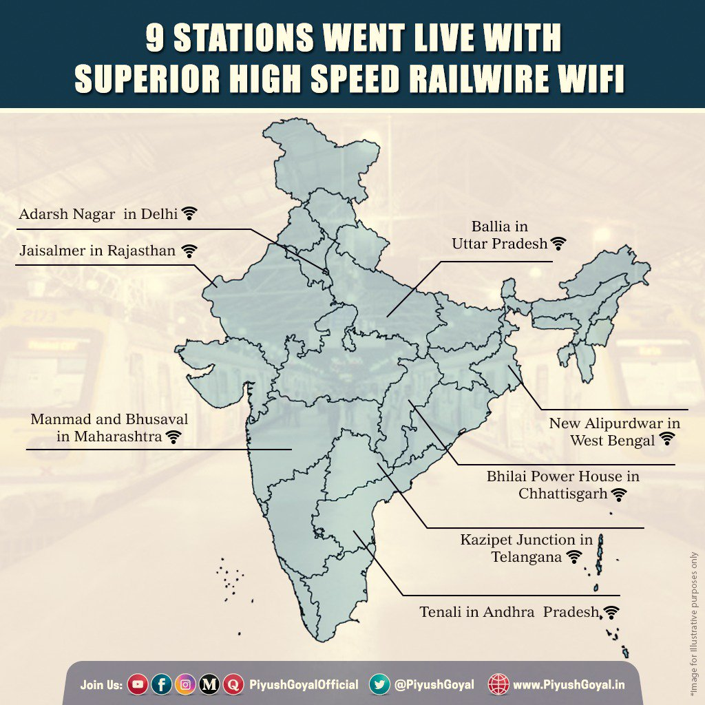 Bridging Digital Divide with High Speed WiFi: With the addition of 9 new stations, the total number of railway stations with superlative WiFi services reaches a figure of 236 - a step towards building a @_DigitalIndia. Get the detailed information at https://t.co/jZlXrgvvLx