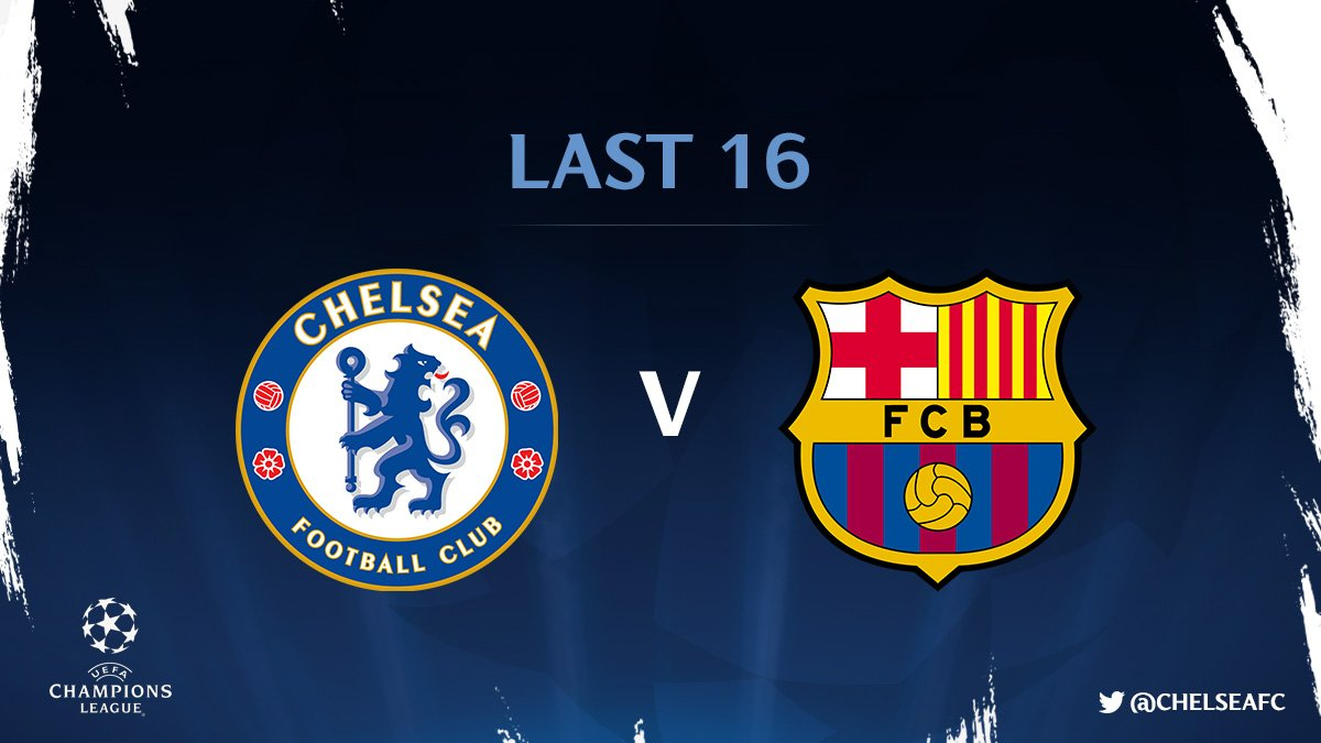 Chelsea will play Barcelona in the last 16 of the @ChampionsLeague!