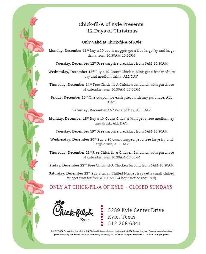chick fil a of kyle on twitter 12 days of christmas begins today httpstcooyectxf5ik