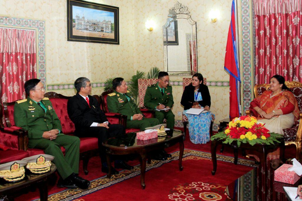 Commander in Chief of Defense Services, Senior General Min Aung Hlaing of #Myanmar calls on President of Nepal Bidya Devi Bhandari in Kathmandu, #Nepal.