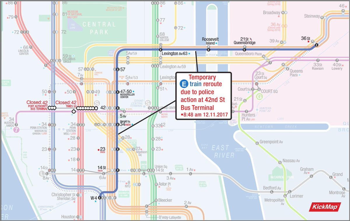 Subway Map Nyc R Train.Kickmap On Twitter Temporary Rerouting Of The E Train Due To