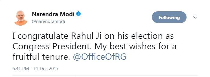 PM narendramodi congratulates OfficeOfRG on his elevation as Congress President #RahulRajInCong https://t.co/qKRDHdLHf9
