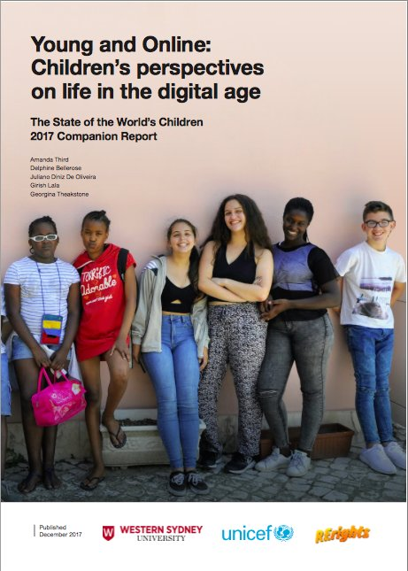 New report: 490 children in 26 countries talk about digital media. #Young&amp;Online: #SOWC Companion Report. Visit:  https://www. westernsydney.edu.au/__data/assets/ pdf_file/0006/1334805/Young_and_Online_Report.pdf &nbsp; …  @UNICEF @Livingstone_S @annecollier @SandraCortesi @fodabasi @ACMcCosker @ggoggin @PhilippaCollin @UNICEFInnocenti @westsyduics @westsydunews<br>http://pic.twitter.com/I87NBMzZQZ