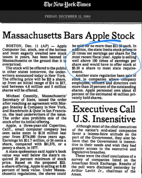Today in 1980 - Massachusetts state regulator bans the Apple IPO citing high valuation and danger to investors. It's up 43,500% since.   $AAPL