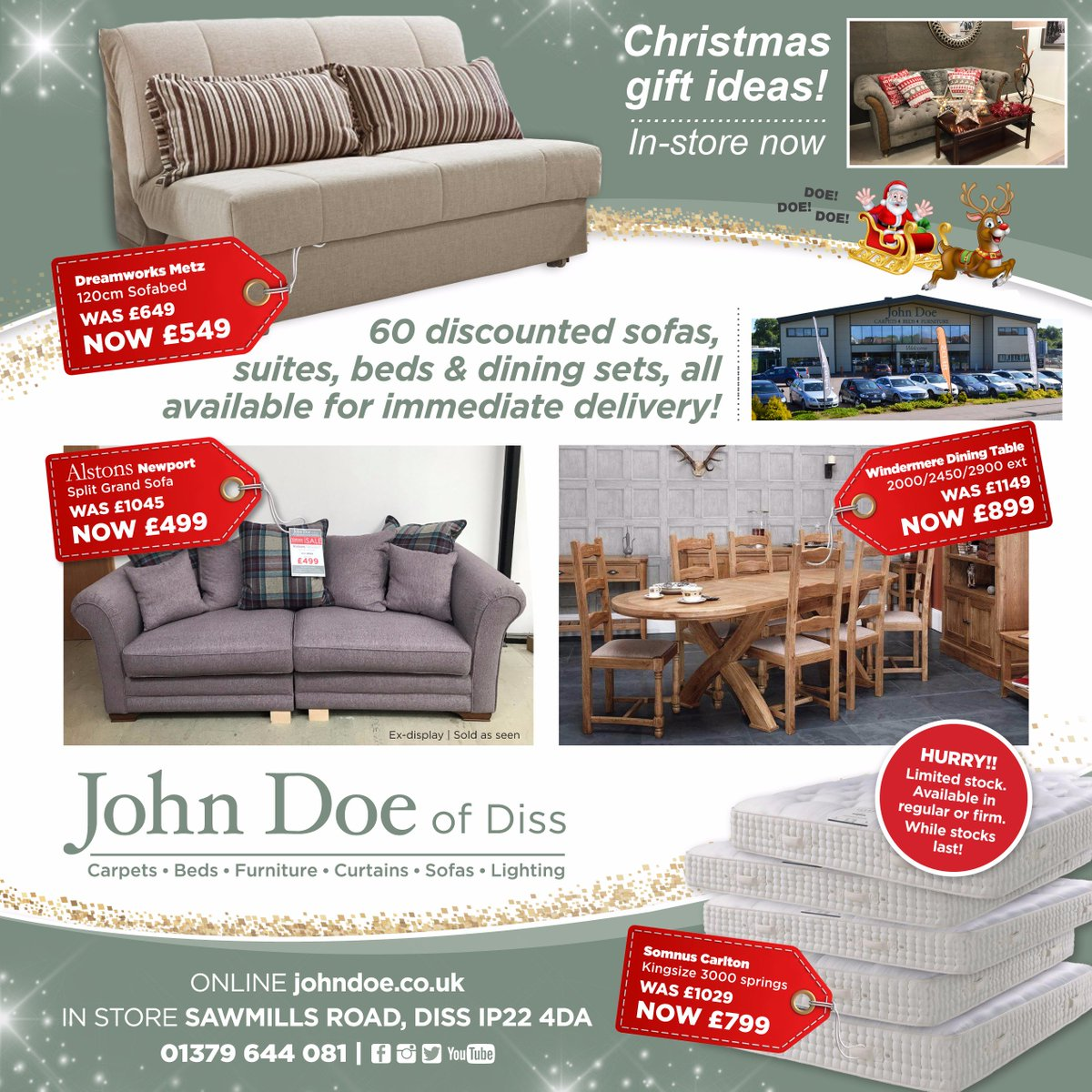 With 60 discounted  sofas   suites   beds    dining sets all available for  immediate delivery   In store now   Sawmills Road   Diss  IP22 4DA or  online. John Doe of Diss   JohnDoeDiss    Twitter