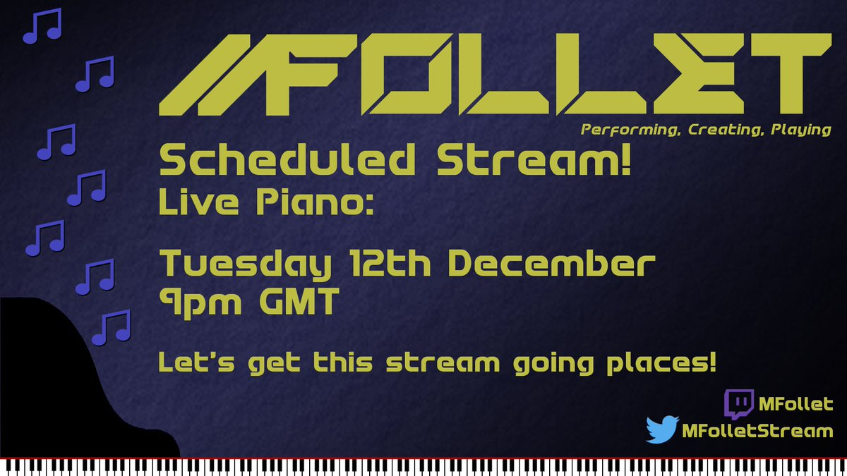 #Piano #stream tomorrow (Tuesday) at 9pm GMT Come and chill with some music!   http:// twitch.tv/mfollet  &nbsp;   #TwitchMusic #TeamEmmmmsie <br>http://pic.twitter.com/A8i2AfwoQj