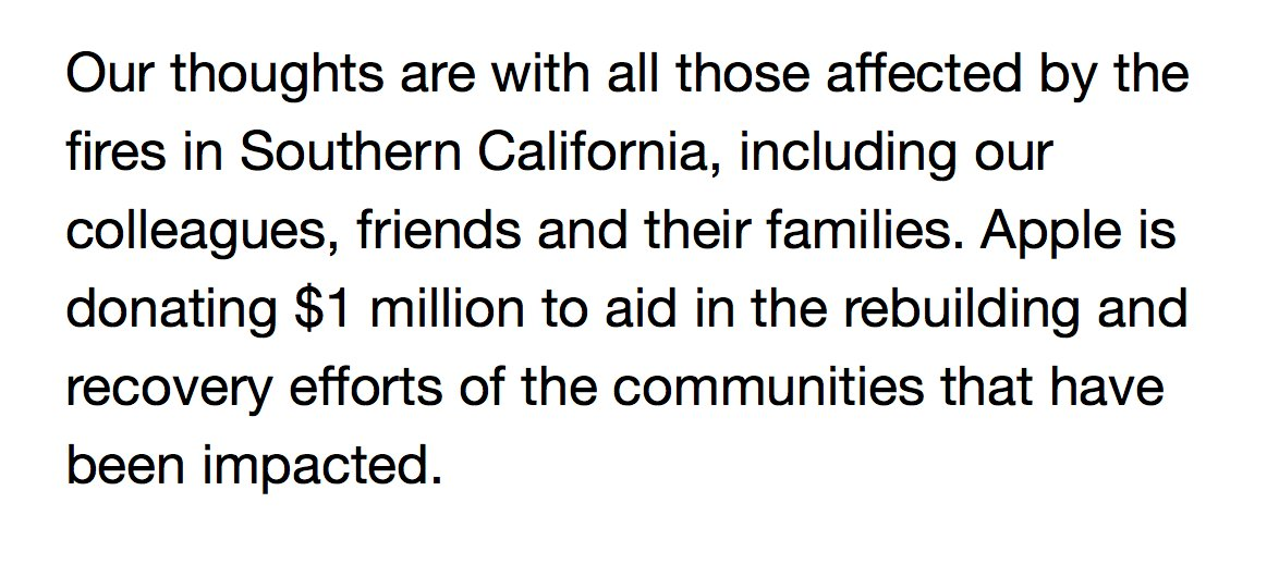 Apple is donating $1 million dollars to help with fire aid in Southern California #LAFires