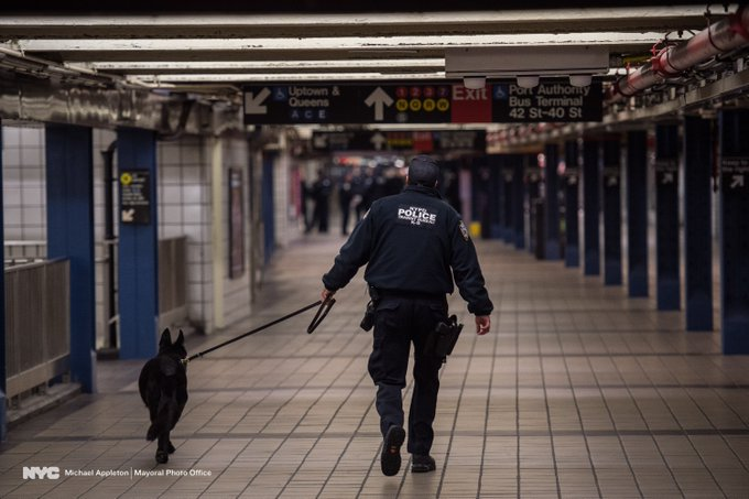 NYPD Transit Bureau K-9 unit clears Port Authority.