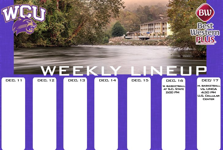 WCU Athletics Weekly Lineup (thru 12-17)