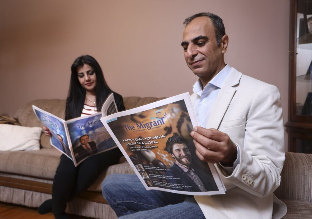"""#Journalist# refugee launches Canada's first #Syrian #newspaper Kameel Nasrawi, a former journalist from Damascus, started the monthly publication in August to """"spread hope."""" https://t.co/eXIHkL1md0 @TorontoStar @fatimasyed401"""