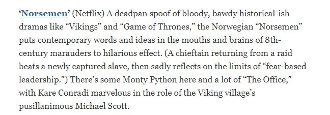 After reading this review I started watching Norsemen (The Office meets Game of Thrones) last night.  Enjoying it so far https://t.co/G7Xx2SvBTv