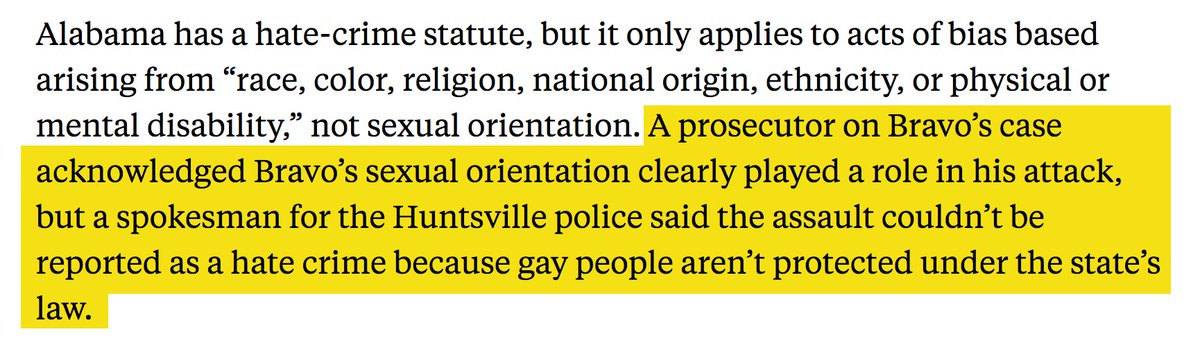 4/ In Huntsville, Alabama, police said that they wouldn't mark an anti-gay crime as a hate crime because state laws don't recognize homosexuality as a protected classhttps://t.co/Jky0Ri5o1g.
