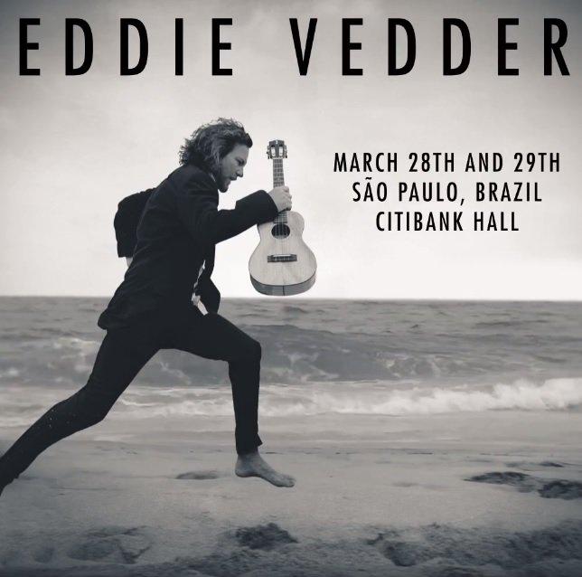 Eddie Vedder, líder do Pearl Jam, acaba de confirmar 2 shows solos em SP. Além de tocar com a banda no RJ, dia 21 de março, e no festival Lollapalooza Brasil, em Interlagos, dia 24, o cantor se apresenta também nos dias 28 e 29 no Citibank Hall. Info: @danilogobatto