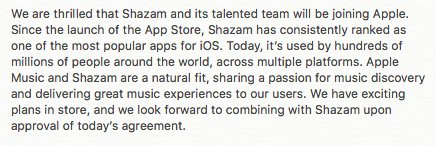 Developing: Apple confirms it's buying @Shazam