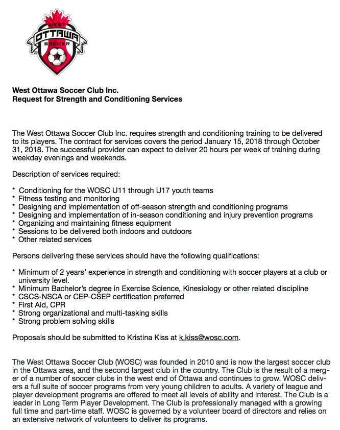 West Ottawa Sc On Twitter West Ottawa Soccer Club Is Looking For A