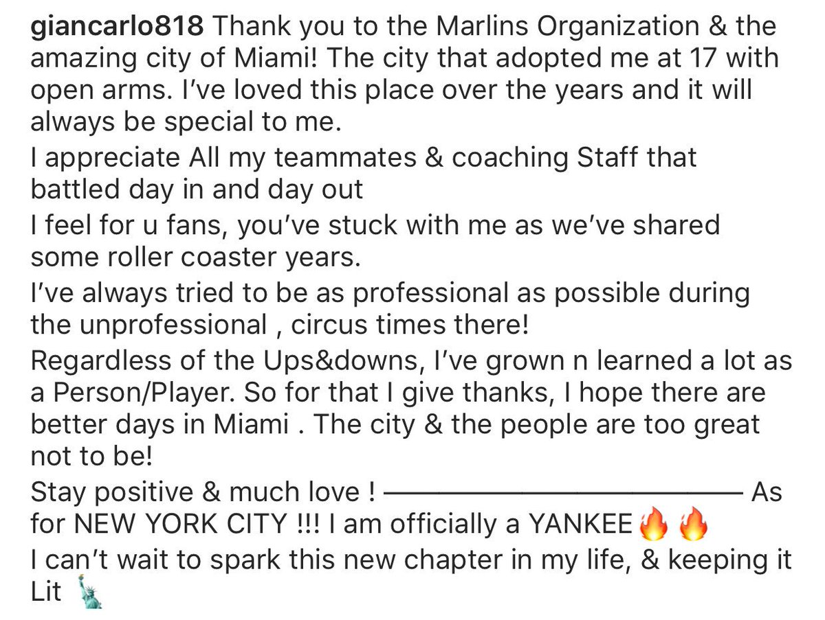 Giancarlo Stanton went to Instagram for his first public words as a member of the @Yankees: