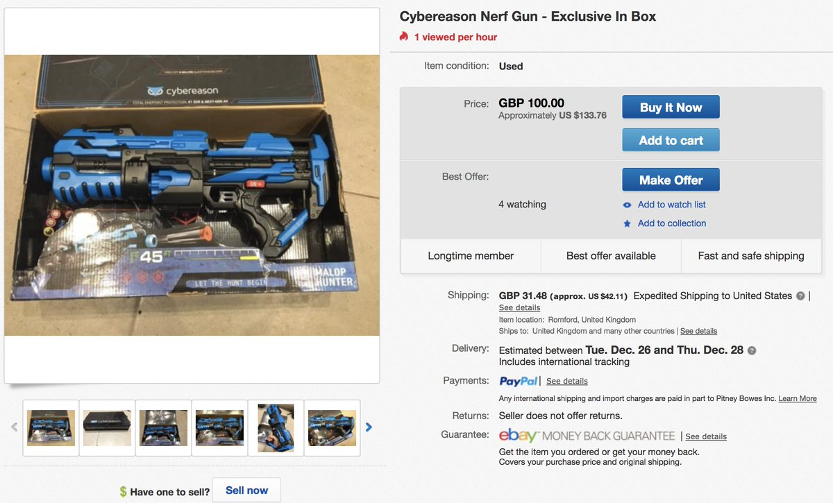 ... up on Ebay as a Nerf collector's item for $133- PRICELESS https://www. ebay.com/itm/Cybereason-Nerf-Gun-Exclusive-In-Box-/172944807653  …pic.twitter.com/ ...
