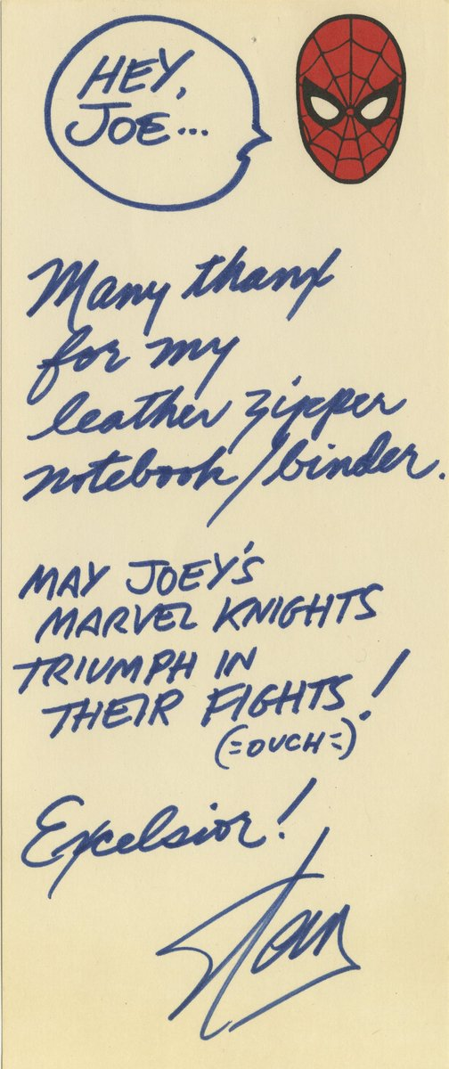 joequesada on twitter digging through old files a simple thank you note for a christmas gift circa january of 1999 stuff like this is what makes working